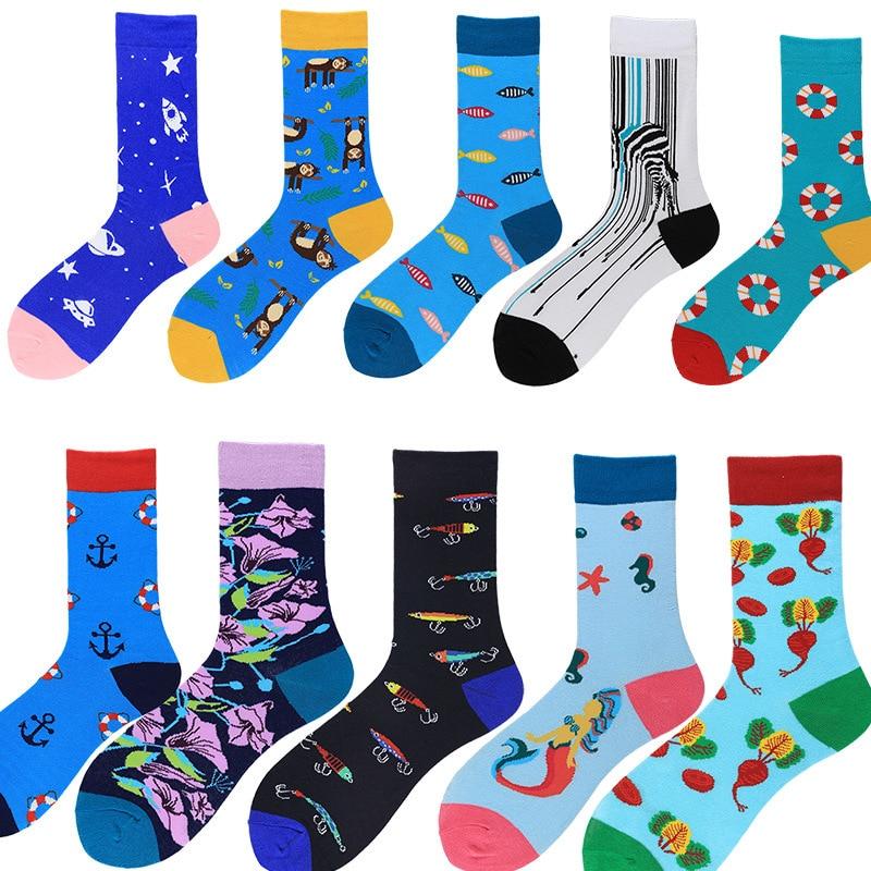 PEONFLY Men's Socks Japanese Cotton Colorful Cartoon Cute Funny Happy Kawaii Monkey Fish Cotton Sokken For Christmas Gift