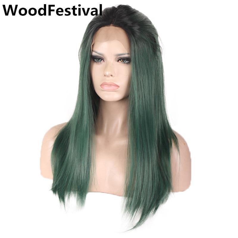 Женская 26 inch мятно-зеленый парик фронта шнурка ombre синтетические парики для чернокожих женщин длинные прямые волосы жаропрочных WoodFestival
