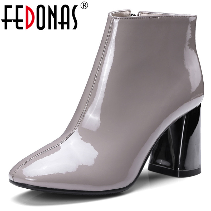 FEDONAS New Women Basic Boots Patent Leather Autumn Winter Ladies Shoes High Heels Punk Party Dancing Shoes Woman PumpsFEDONAS New Women Basic Boots Patent Leather Autumn Winter Ladies Shoes High Heels Punk Party Dancing Shoes Woman Pumps