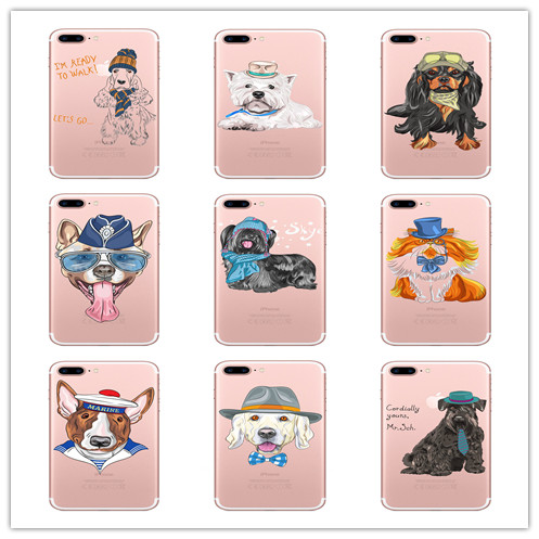 Case For iPhone 5 SE 6 6S 7 8 Plus Cute Funny Pug Dog French Bulldog TPU Cover Case For iPhone x Transparent Silicone Phone Case