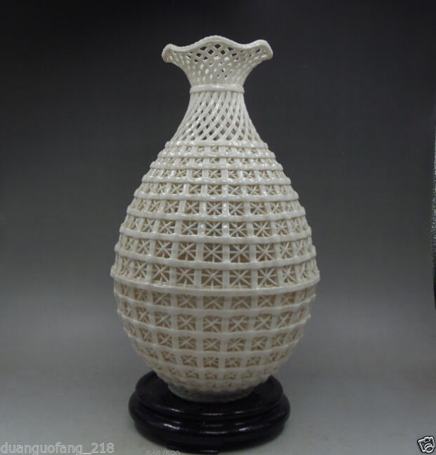 Chinese Collection Handwork Carved openwork Dehua White Porcelain Vase & Base NR