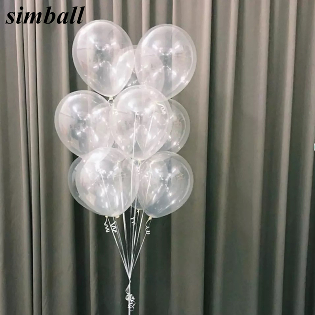 10pcs/lot 12 Inch Thick 2.8g Clear Latex Balloon Transparent Ballon Romantic Inflatable Wedding Decoration Birthday Party Ballon