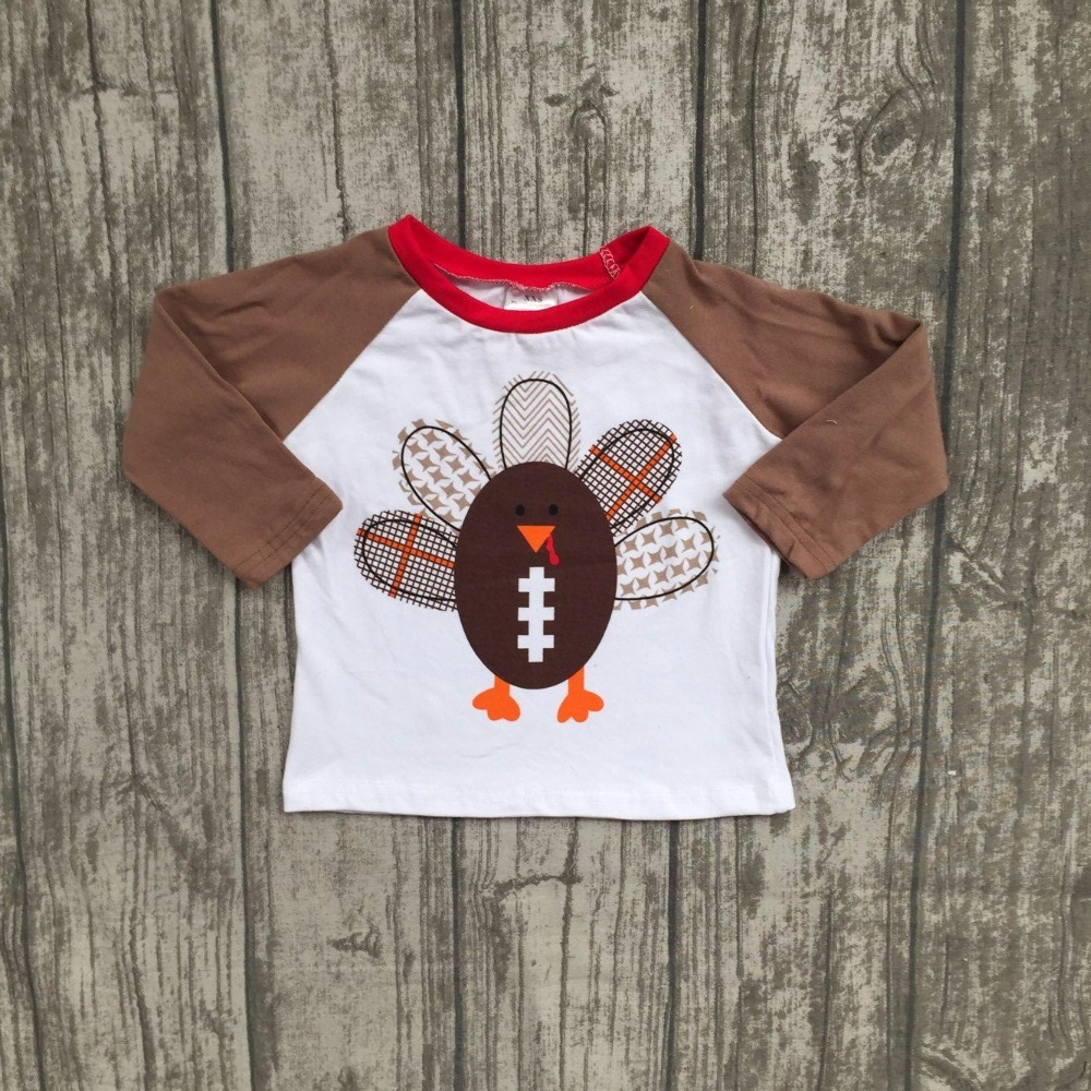 new arrival hot baby boys Fall boutique top t-shirts children clothes long sleeve cotton raglans turkey brown thanksgiving day