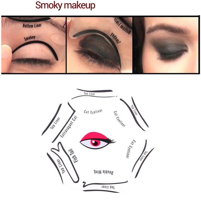 RORASA 1pcs 6 in 1 Stencils Eyeliner Template Smoky Makeup Guide Cat Eye Natural Liner Quick Eyeliner stencil Tool Cosmetic tool 1