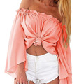 fashion candy-colored sexy off shoulder peplum top women solid slash neck flare sleeve chiffon beach wear hollow out blouse