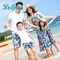 2017 verão mãe e filha vestidos arnês correspondência camisa branca de t + shorts de pai e filho roupas define causal praia da família roupas