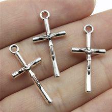 WYSIWYG 10 sztuk jezus krzyż odkupienie krzyż Charms wisiorek DIY ocena biżuteria antyczne srebro kolor Tone 28x14mm