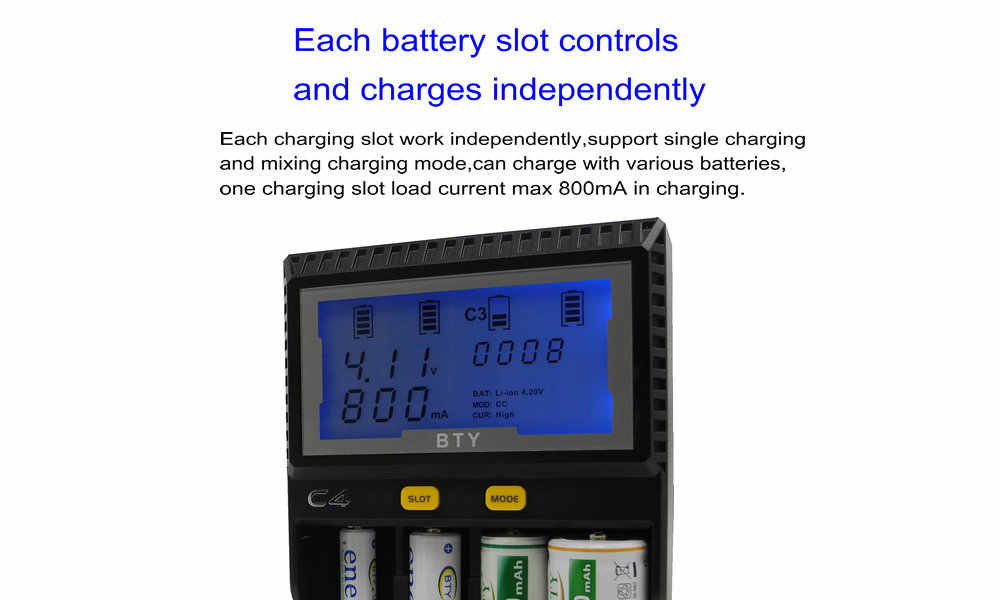 BTY-C4 الذكية السريع شاحن ليثيوم أيون متولى حسن ني المضغوط AA و AAA 10440 14500 18650 26500 CR123A بطارية LCD قدرة قياس