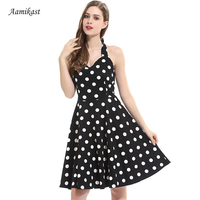 Módní letní ženy šaty vintage polka dot halter bez rukávů volné šaty elegantní tisk bodycon šaty ležérní ženy oblečení