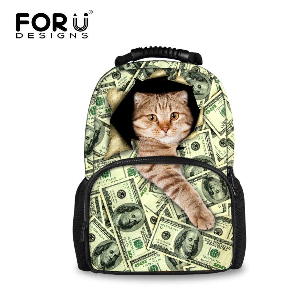 все цены на Money Cat Printing Backpack Women 2016 Famous Brand School Bags for Teenage Girls Backpacks Mochila Feminina Bagpack sac a dos