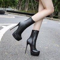 36-46 женские ботинки модная обувь на высоком каблуке женские зимние кожаные ботинки на платформе с молнией женская обувь женские ботинки жен...