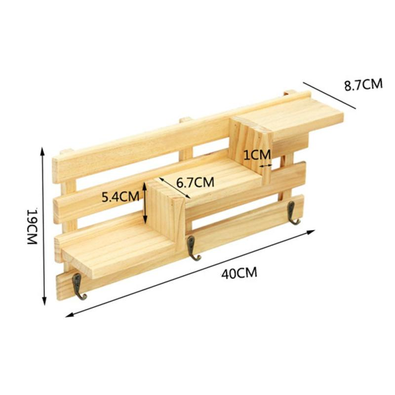 Wall Mounted Wood Shelf Holder Kitchen Bathroom Storage Rack ...