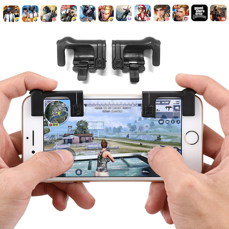 1pair Gaming Trigger Fire Button Aim Key Smart phone Mobile Games L1R1 Shooter Controller For PUBG/Rules of Survival V2.0