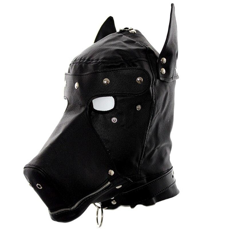 Сексуальный косплей собака головной убор кожаный капюшон БДСМ бондаж Фетиш раб повязка на глаза маска колпачок подголовник капот Пром игра одежда в стиле рейв - Цвет: PG0179
