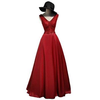 Holievery Beaded V Neck Satin Evening Dresses without hat Burgundy Gold 2019 Long Formal Evening Gown Vestidos De Festa Longo