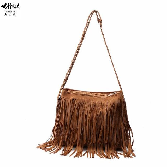 09984fca175c Vintage Frosted PU Leather Fringe Tassel Bags Women Handbag Messenger  Crossbody Shoulder Bag Woman Lady Bohemian Hippie Hobo Bag