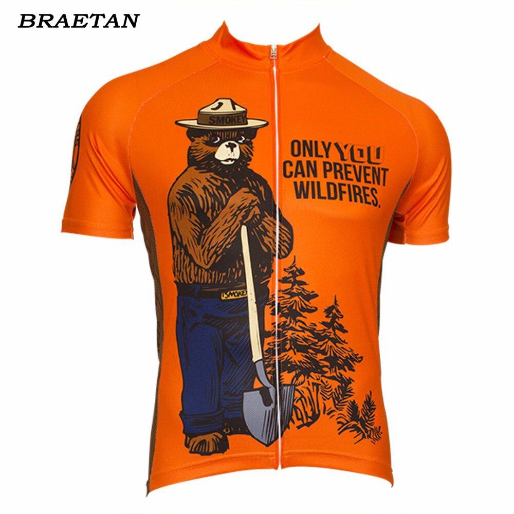 Braetan Bicycle-Clothing Cycling-Jersey Short-Sleeve Orange Customed Bear Smokey Cool