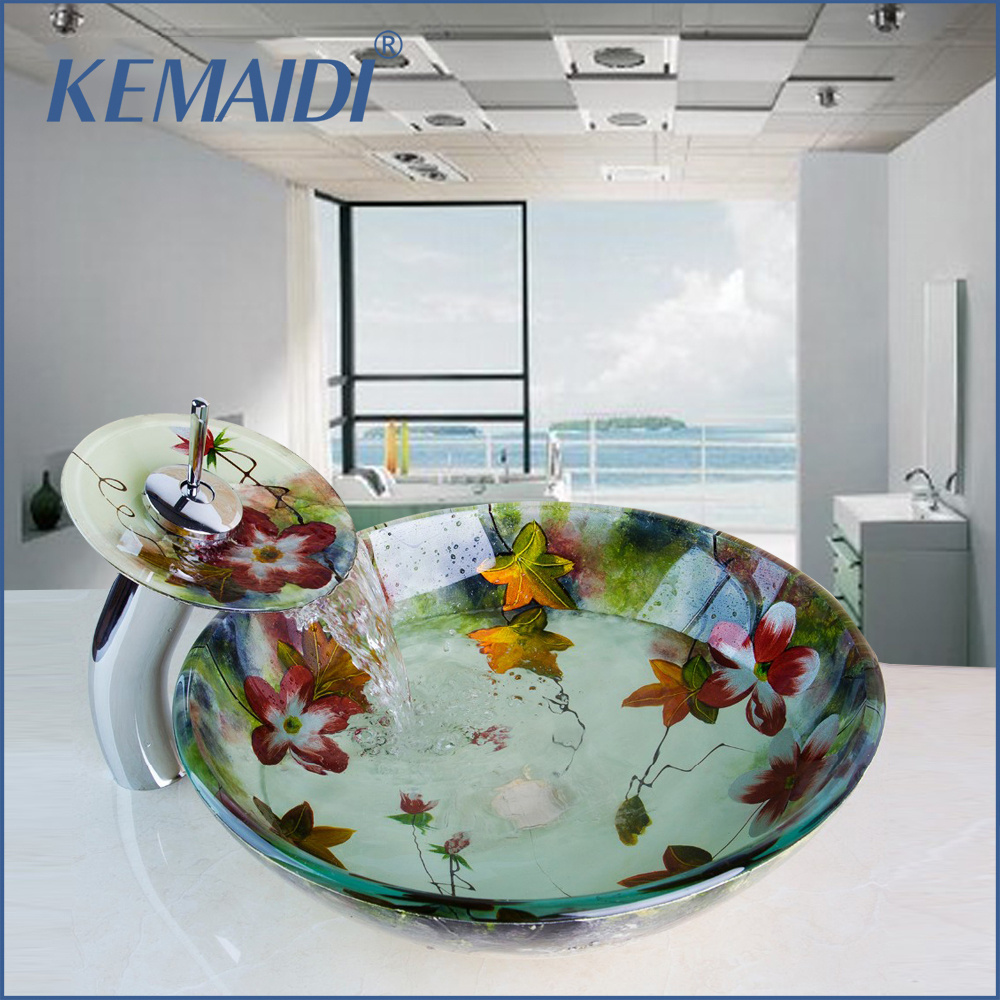 KEMAIDI New Waterfall Spout Basin Black Tap+Bathroom Sink Washbasin Tempered Glass Hand-Painted Bath Brass Set Faucet Mixer Taps kemaidi new arrival bathroom waterfall washbasin lavatory tempered glass basin sink combine vessel vanity tap mixer faucet