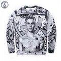 América Moda justin bieber Homens das mulheres 3d digital print famosa estrela outono inverno hoodies camisolas finas ocasional encantador