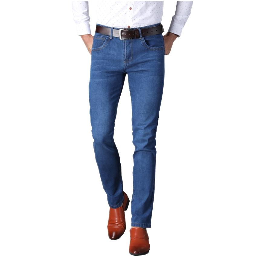 Blue Business Casual Men's Jeans, Stylish, Comfortable, Elastic, Mens Denim Trousers Maximum Size 38 Man Cotton Pants 2018
