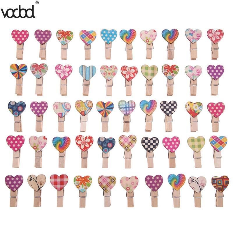 50pcs Love Heart Wooden Clip Office Accessories Clip Photo Paper Binder Stationery Supplies Horse Desk School Clips