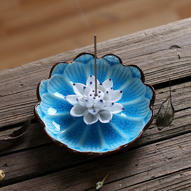 PINNY Jingdezhen Lotus Seramik Tütsü Tutma Əl istehsalı Çubuq Tütsü Yandırıcı Hədiyyə və sənətkarlıq Ev Dekorasiyaları Censer Sandalwood