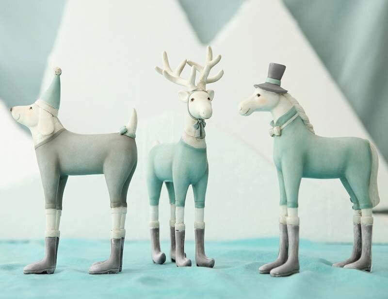 Nordic paard standbeeld dier sculptuur figurine miniture interieur