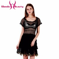 New Design High Quality Sexy Fashion Women Black Lace Mesh Patchwork Dress Mini Celebrity Party