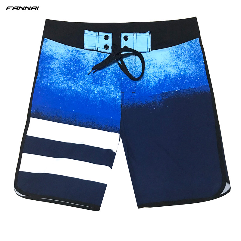 High Elastic Men's   Board     Shorts   Surf Swimwear Beach Wear Male Striped Swim   Shorts   Summer Athletic Running Gym   Shorts   Plus Size