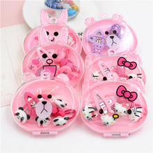 4pcs/box Hello Kitty Hair Clips Elastic Bands Set for Girls Acrylic Cartoon Bear Rabbit Cat Barrettes Hairpins Accessories