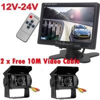 12 V-24 V 7 Polegada Car Monitor de LCD Rear View System + 2x IR Invertendo Camera kit para ônibus Caminhão