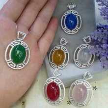 Natural red,green,blue  white chalcedony pendant S925 silver Natural Gemstone Pendant Necklace big round for women fine jewelry