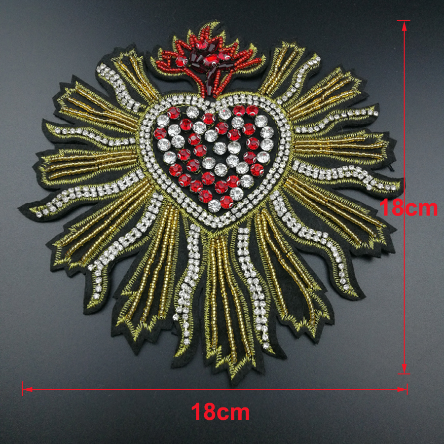3Pcs Beaded Crystal Heart Rhinestones Patches Sew on Badge Applique Motif