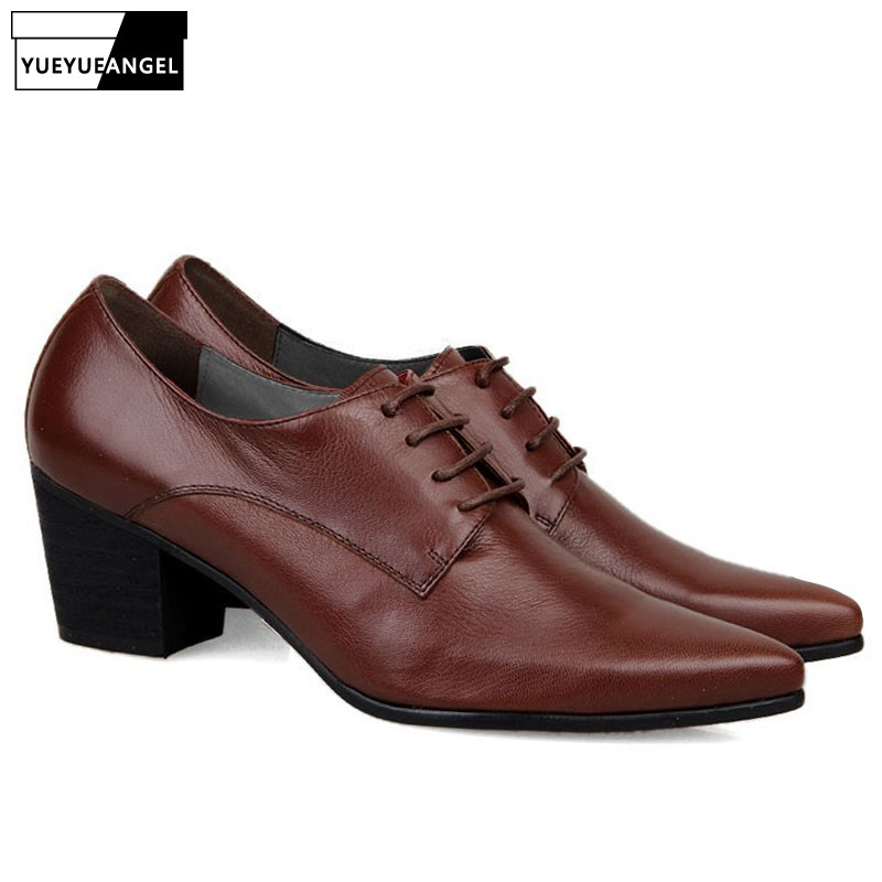 Italien Design Hög kvalitet Brand New Fashion Mens Snörning Up Pointy Toe Oxfords Formell Klädskor Kubansk Heels Leather Business Shoes