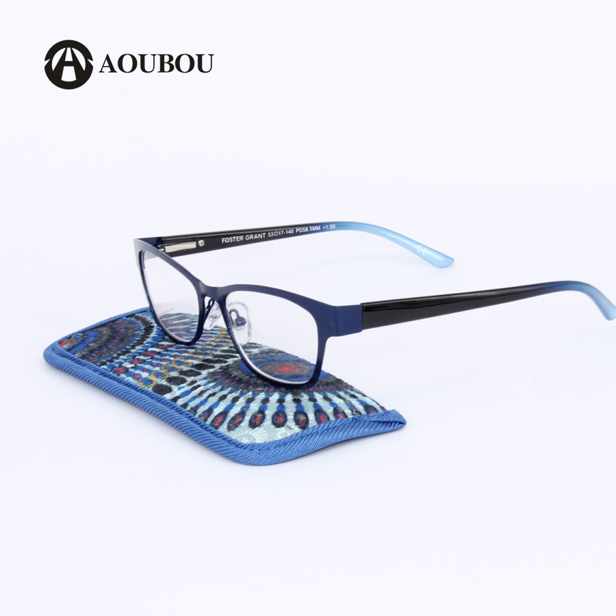 AOUBOU Blue Vintage Women Reading Glasses Brand High Clear Lens Glass Full Frame Glasses Gafas de lectura de las mujeres A109