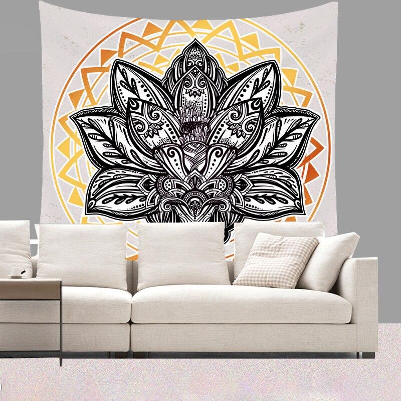 Smiry 130X150 cm Breve Peluche Arazzo Da Parete Bohemia Mandala Animale Appeso Luna Lupo Pistole Stuoie di Yoga Telo Mare Decor Soggiorno