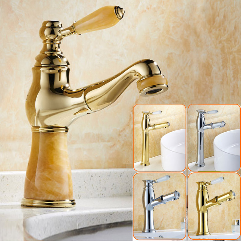 Chrome & Golden Luxury Pull out /down Bathroom Kitchen Mixer Faucet Crane Deck Mounted Single Handle Water Taps brand new deck mounted chrome single handle bathroom