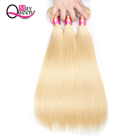 May Queen 3Pcs Lot 613 Blonde Hair Brazilian Straight Remy Hair Weft Human Hair Weave Bundles 10 26 inch Free Shipping