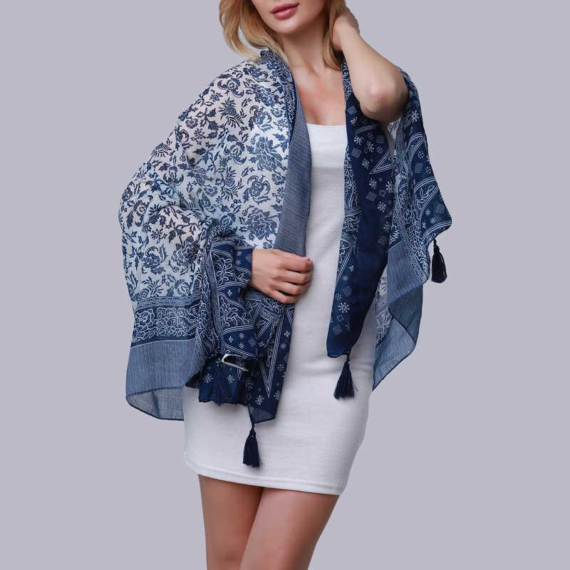 Bufanda larga elegante de verano de porcelana azul y blanco con estampado de borlas para mujer