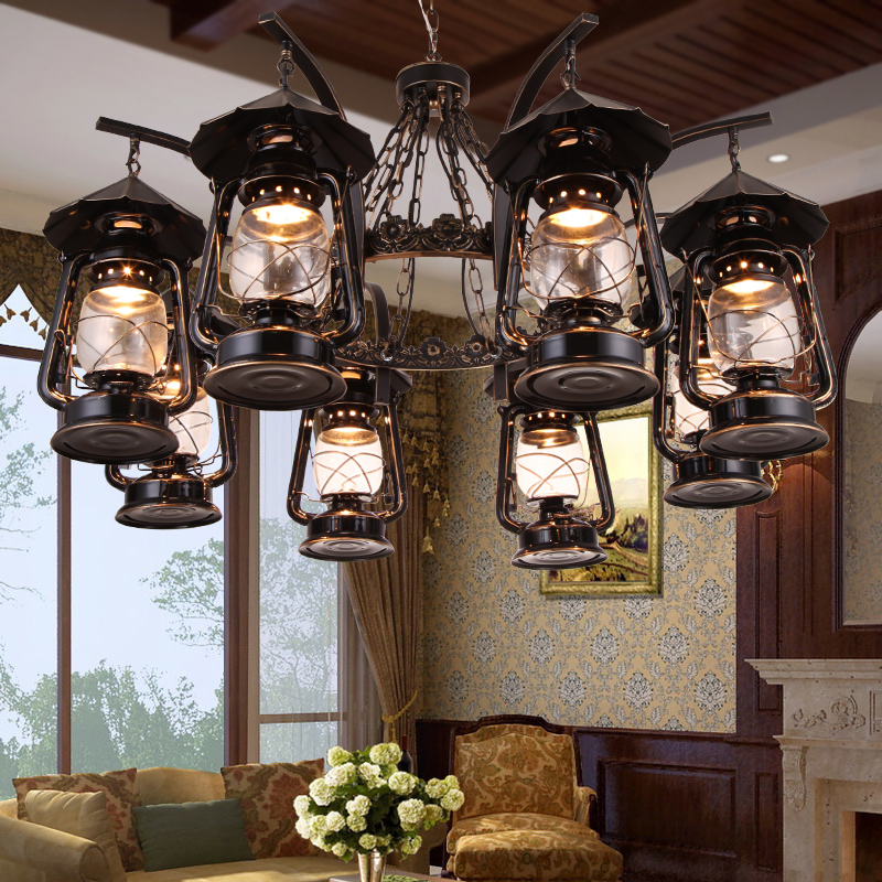 Multiple Chandelier lantern American rural pastoral luxury atmosphere living room Jane European retro kerosene lamp chande ZX3