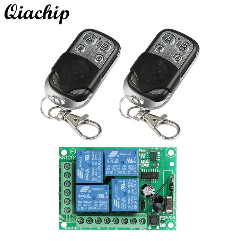 QIACHIP 433Mhz DC 12V 4CH RF Relay Wireless Remote Control Switch Receiver Module and 433 Mhz Remote Control Transmitter DIY Kit dc 12v 1ch 433 mhz universal wireless remote control switch rf relay receiver module and transmitter electronic lock control diy