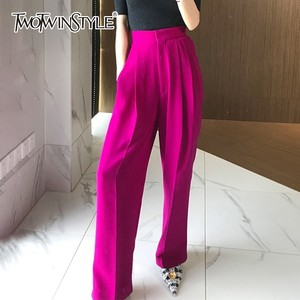 Image 3 - Twotwinstyleズボン女性のハイウエスト因果ルースワイド脚パンツ女性2020秋の韓国のファッションエレガントな潮