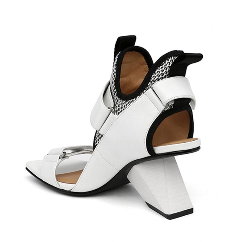 JADY ROSE 2018 New Strange Heel Women Sandals White Genuine Leather Sandalias Mujer 8CM Wedge Shoes Woman High Heels Women Pumps