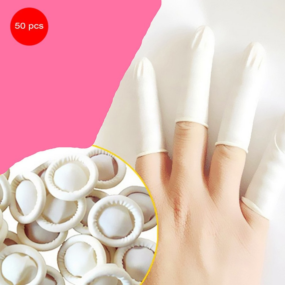50PCS/SET Natural Latex Anti-Static Finger Cots Practical Design Disposable Makeup Eyebrow Extension Gloves Tools disposable gloves latex s natural pk100