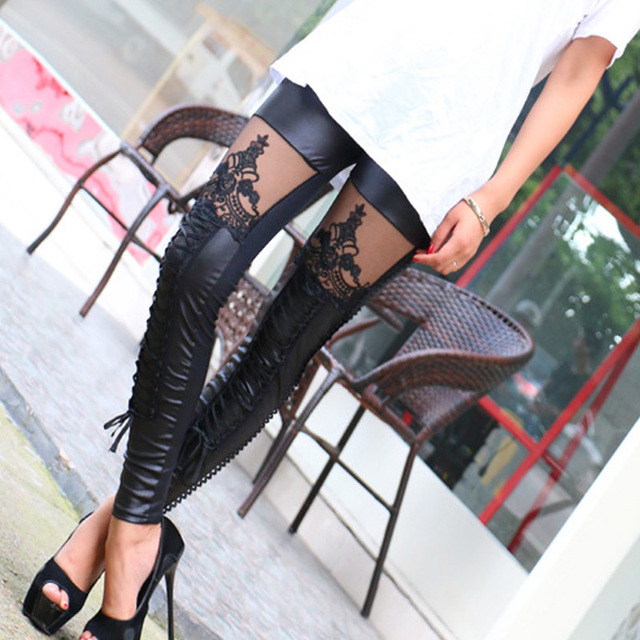 Women Leggings Embroidery Lace Up Skinny PU Leather Trousers Sexy Lace Patchwork Pants