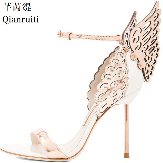 Qianruiti Pink Silver Champagne Butterfly Wings Bride Wedding Shoes Buckle Strap  High Heels Women Sandanls Open Toe Women Pumps 8f90084230de