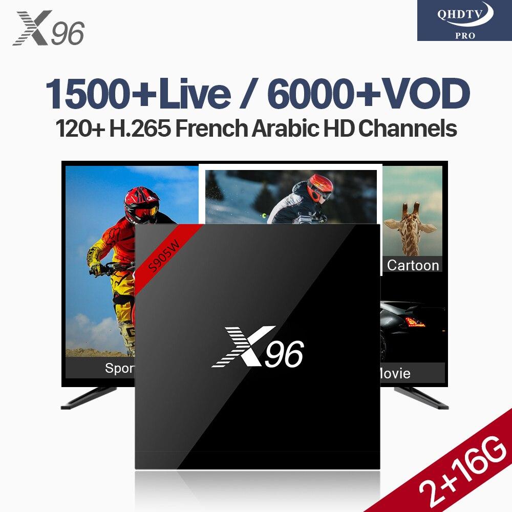 Dutch Morocco Qatar Arabic France X96W IP TV Box Android 7.1 S905W 2G 16G WIFI IPTV 4K H.265 Channels QHDTV Pro Android TV Box все цены