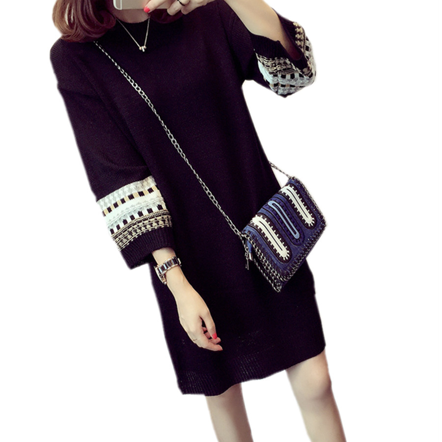2016 Fall Winter Women Dress New Fashion Knitted Ladies Mini Dress Plus Size Loose Sweater Dresses Brand Womens Clothes DR429