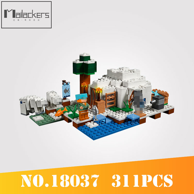 US $17 0 32% OFF|Mailackers Building Blocks My World Legoing Minecrafting  The Polar Igloo Bear House Modle DIY Bricks Minecraft Toy Gift Legoings-in