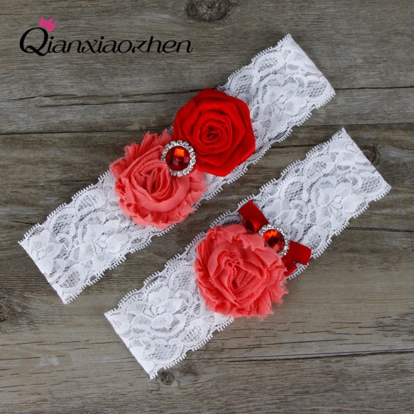 Wedding Leg Garter: Qianxiaozhen 2pcs/set Red Lace Leg Wedding Garter Bridal